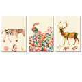 Wholesale Abstract Painting Animal Canvas Prints Zebra Peacock Deer Canvas Printing Art Combination Home Decor 3-Panel