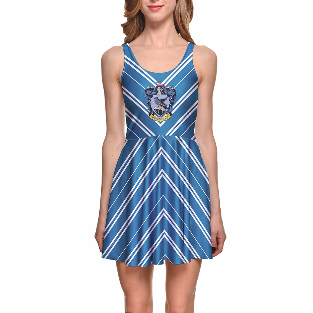 Polyester Spandex Wholesale Digital Printed Blue background and white stripes casual dress