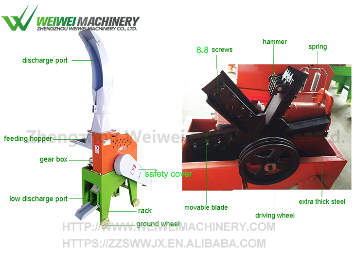 WEIWEI New style large farm grass cutting capacity straw machine hot sale online battery