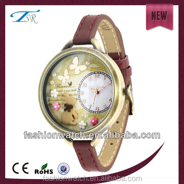 New products 3D Flower face design round dial Popular beautiful crystal leathr strap sexy ladies smart watches
