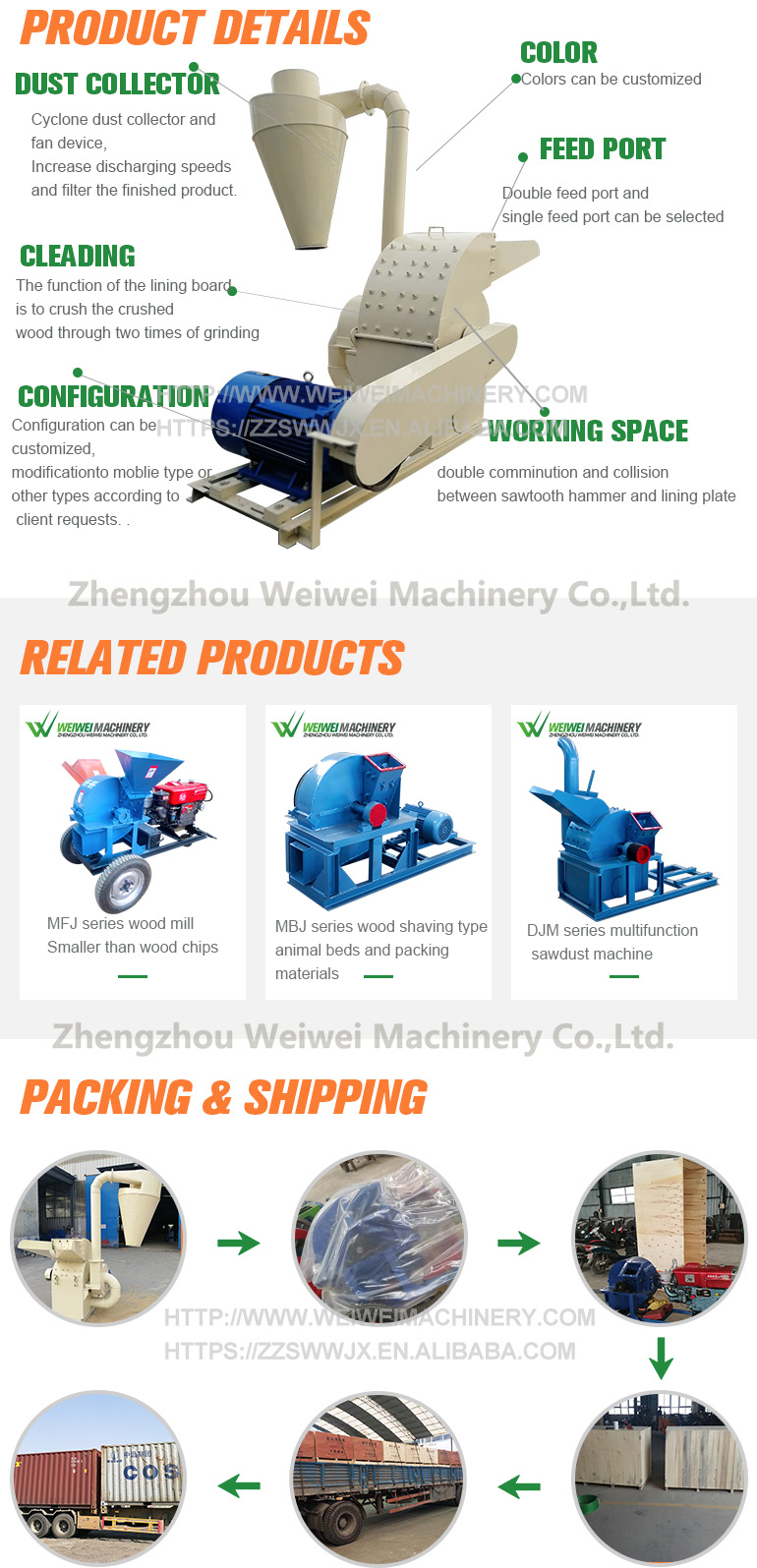 Factory offer wood hammer  corn cob mill coconut powder brick coir  wood waste agriculture shredder crusher machine