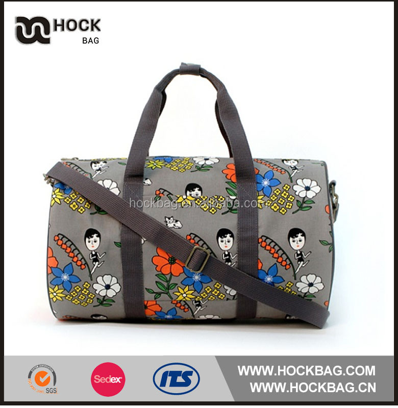 China cheap print custom logo canvas luggage duffle bag / dry travel bag for gril