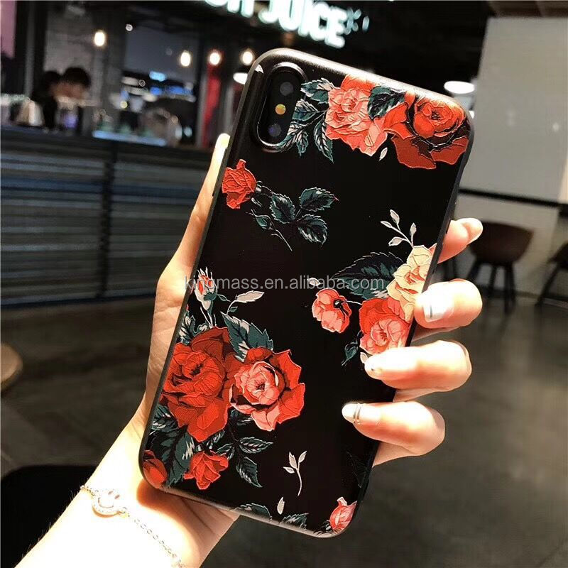 For iphone x case 360 hybrid 2 in one for women ROSE flower print tpu pc case