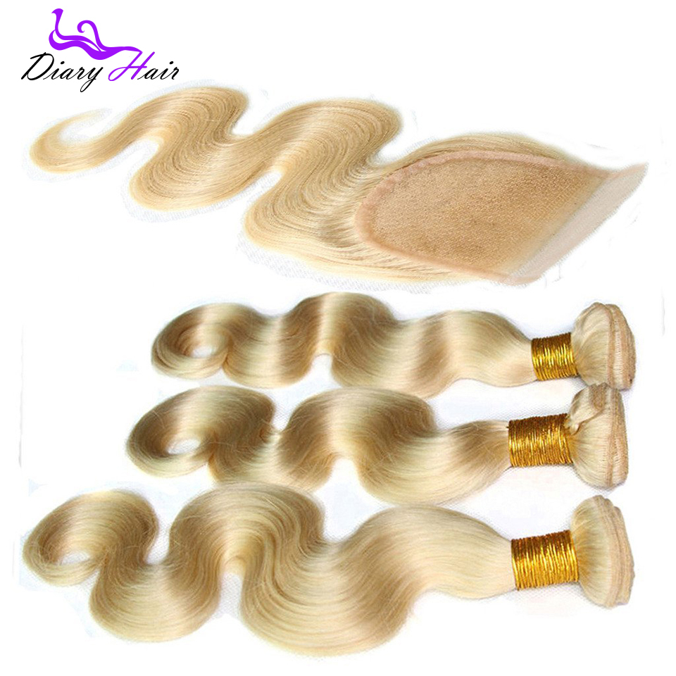 Grade 7a Brazilian blonde virgin hair body wave with lace closure  #613 unprocessed cheap remy human hair weave extensions