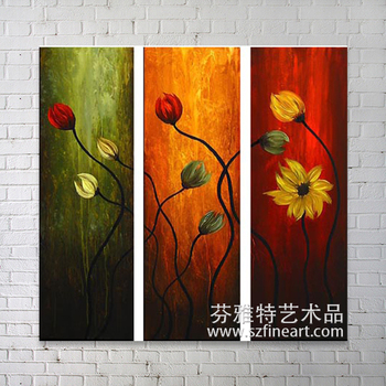 Group Modern Art Flower Handmade Natural Scenery Painting