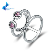 Fashion New 925 Sterling Silver Lovely Smiling Face Emoji Finger Rings for Women Jewelry