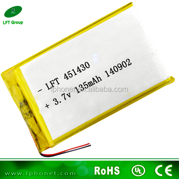 451430 custom shape small li-po battery 3.7v 135mah for bluetooth blood pressure meter