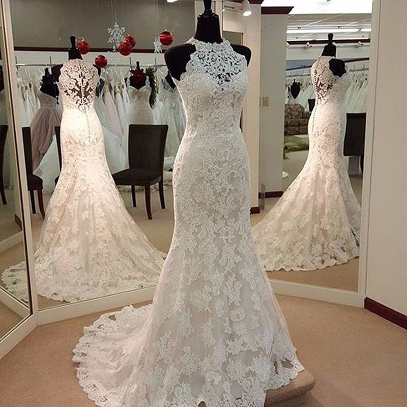 Ll083 Gorgeous Lace Wedding Dresses Halter Trumpet Designer Wedding ...