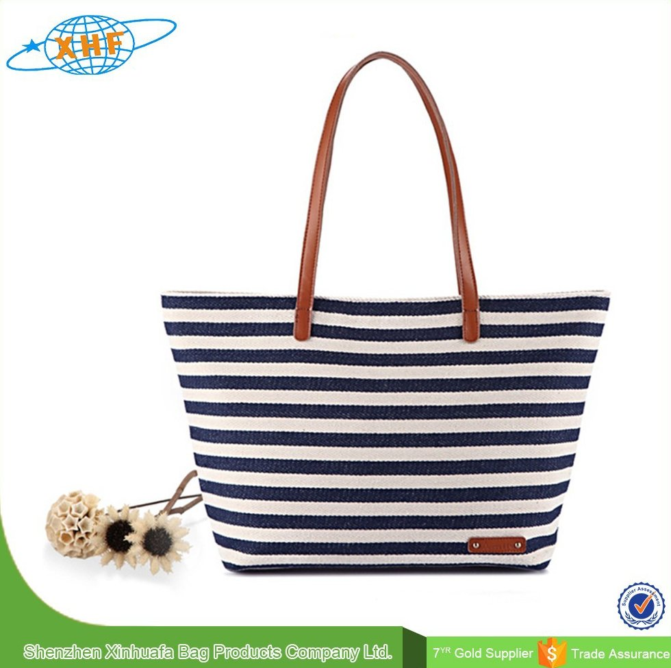 2015 Newest Stripe Canvas Beach Tote Bag Wholesale