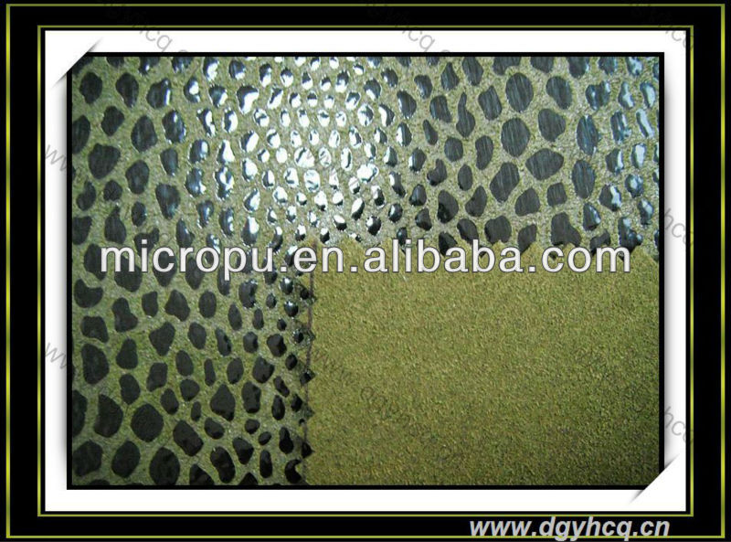 full animal printing grain leopard snakeskin faux microfiber leather china supplier