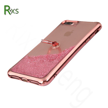 Luxurious mobile phone case for iphone 7 Plus Electroplate Glitter Liquid Quicksand Case with diamond for iphone 7 plus