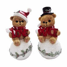 Christmas Table Top Figure Resin Sitting Teddy Bear Sculpture for Sale