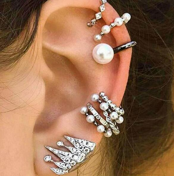 Boho Design Ear Cuff Brincos Simulated Pearl 9PCS/Set Ear Clip Earrings Set Women Statement Wedding Bohemia Ear Jewelry Bijoux