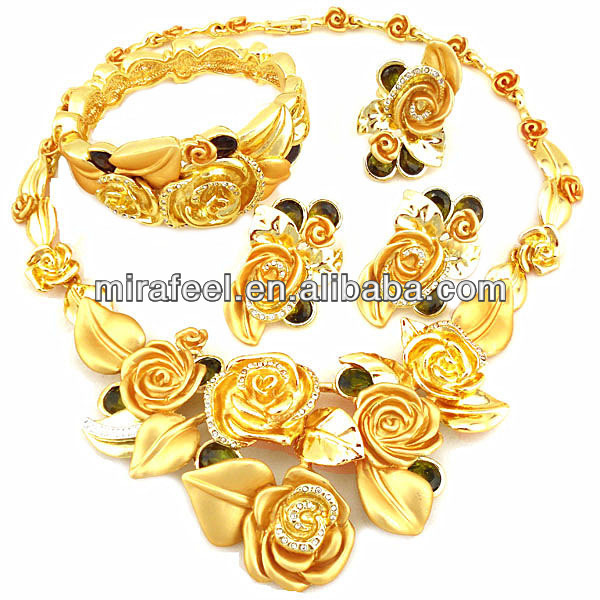 2014 spring rose design African 4 pieces jewelry sets custom design 18k alloy big jewelry color guaranteed