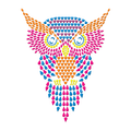 Owl Multicolor Hot Fix Neon nailhead Heat Transfer Print for Rhinestone Motif Design