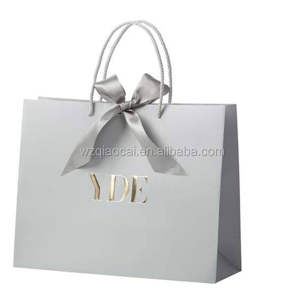 luxury gift packing paper bags and boxes for garment cloth shopping bag silver foil stamping