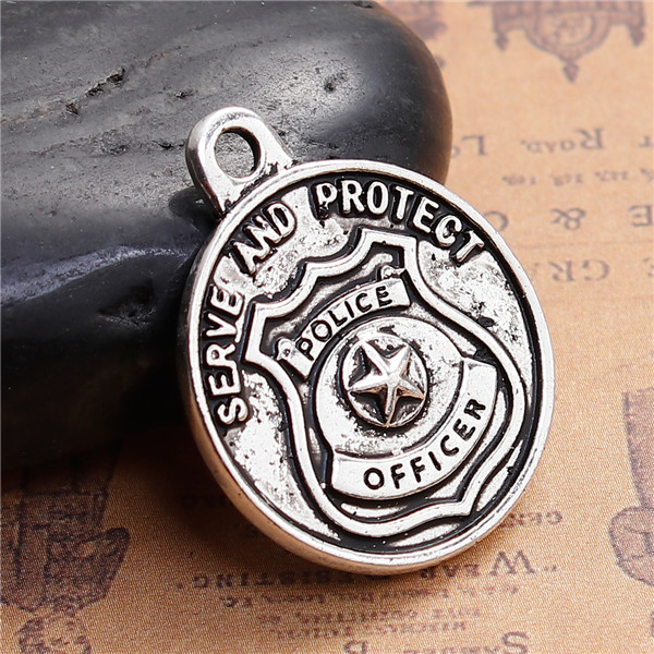 "Zinc Based Alloy Pendants Round Antique Silver Saint Michael Message "" SERVE AND PROTECT "" Engrave Pendant"