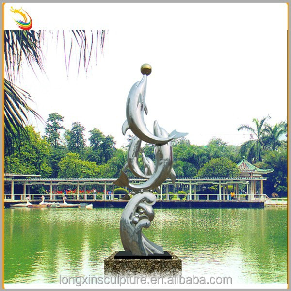 China Supplier Contemporary Garden Art Metal Dolphins Stainless Steel Sculpture