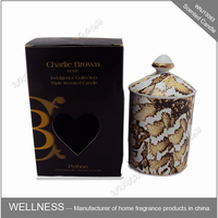 scented soy wax candle in ceramic jar with luxury packaging