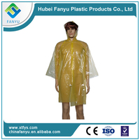 hooded waterproof disposable plastic raincoat