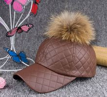 Fashion PU leather baseball cap with raccoon fur pompom brown color KZ160072