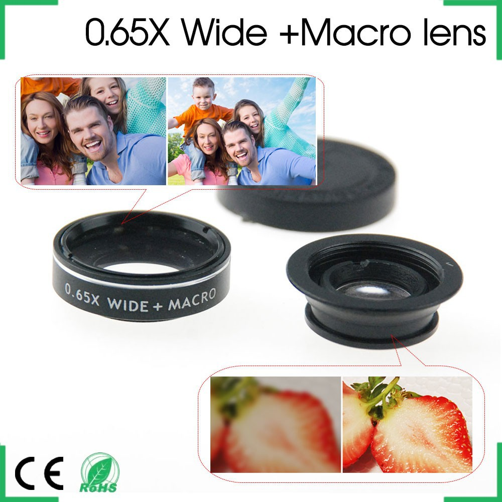 No Dark Corner 0.65 X Wide Angle +Macro Lens Clip-on Universal Mobile Phone Camera Lens