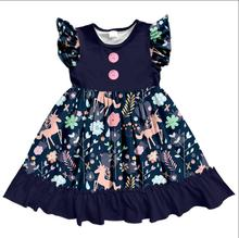 Latest Frock Designs Wholesale Girls Party Dress Flutter Sleeve Princess Kids Unicorn Dresses Children Dresses
