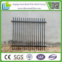 Strong and beautiful black powder coated tubular galvanized steel metal fence/China Alibaba Supplier