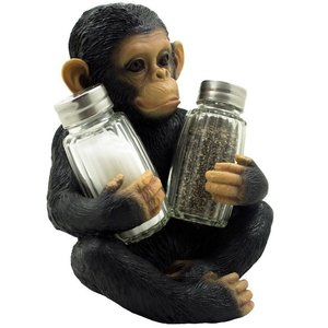 Kitchen Table Decor Sculptures Decorative Monkey Glass Salt and Pepper Shaker Set with Holder Figurine