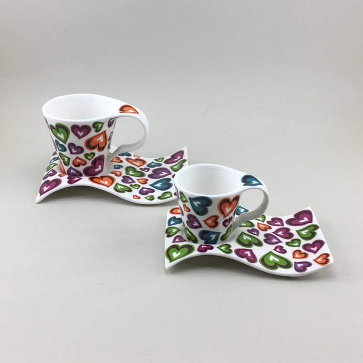 Custom painted colorful couple Valentine's  spanish style handmade pottery dinner set dinnerware
