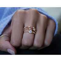 new design pear shape gemstone moonstone stack simple delicate rose gold latest gold ring designs for girls