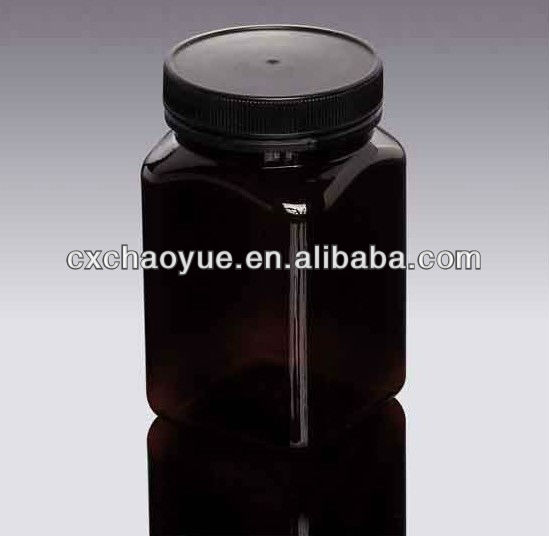 500ml Square PET Black Honey Bottle with Food grade