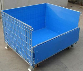 JS Folding wire storage cage with blue color plastic plate