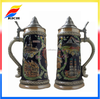 German handcrafted Painted ceramic beer stein with lid