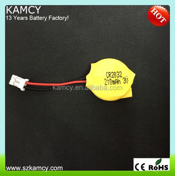 3v lithium battery cr2032 with wire and connector Lithium Button cell 3V CR2032 with wire and connector 210mAh