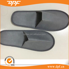 China supplier custom disposable slippers Gray bedroom cloth polycotton slippers