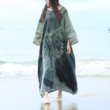 3D Print Floral Plus Size Women Maxi Dress 2017 Spring Summer Beach Dress Batwing Sleeve Flax Robe Femme Loose Gown Vestidos