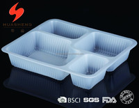 1100ml Eco-friendly disposable plastic divided food tray, with 4 compartment disposable food tray