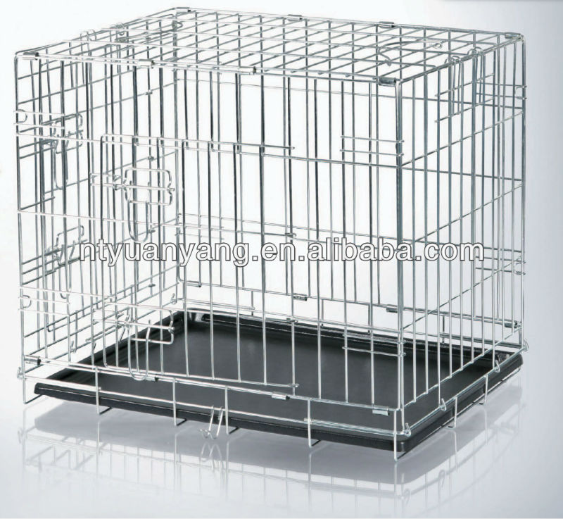 foldable safety strong metal steel bar dog cages with plastic tray