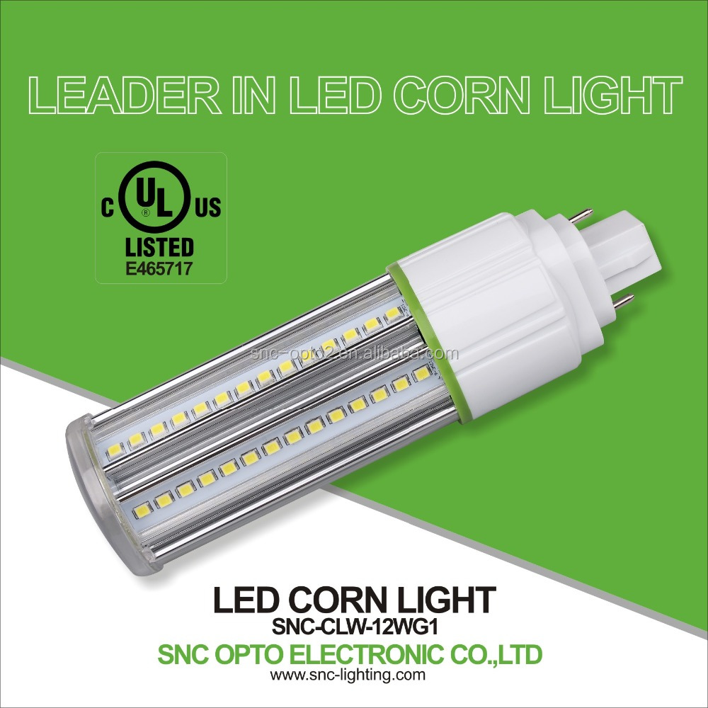 SNC best heat dissipation IP64 UL CUL listed G24 12W led corn cob light parking lot lighting with 5 years warranty