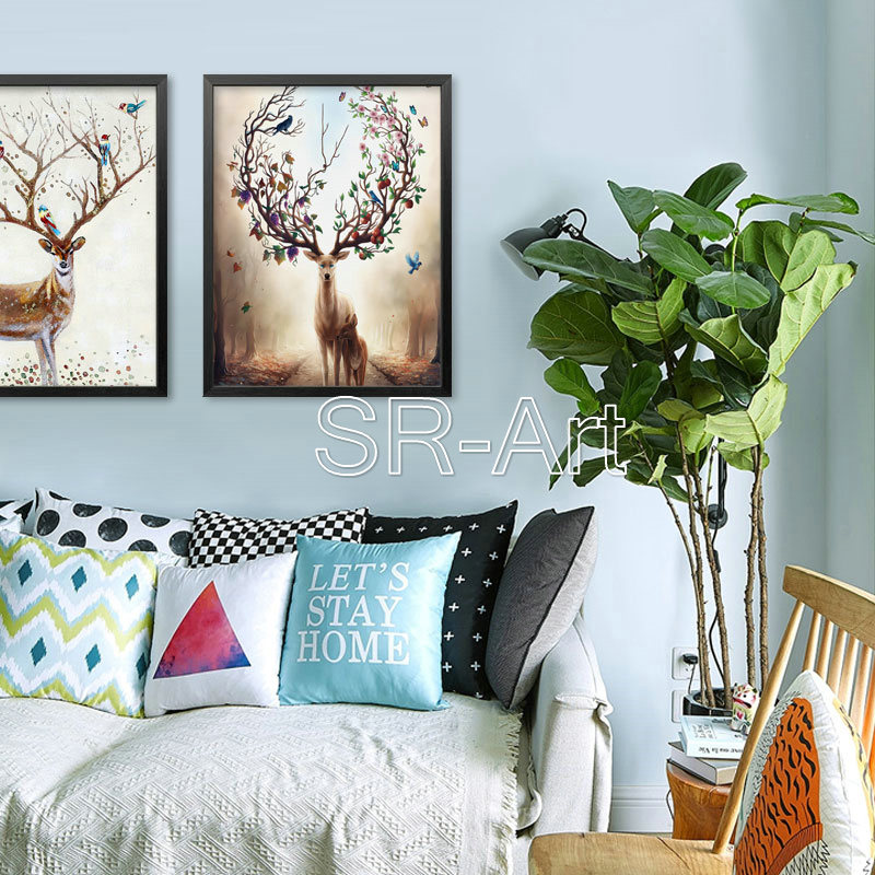 High Quality Wall Art Painting Elk Design Nordic Style Custom Print Canvas Decor Painting
