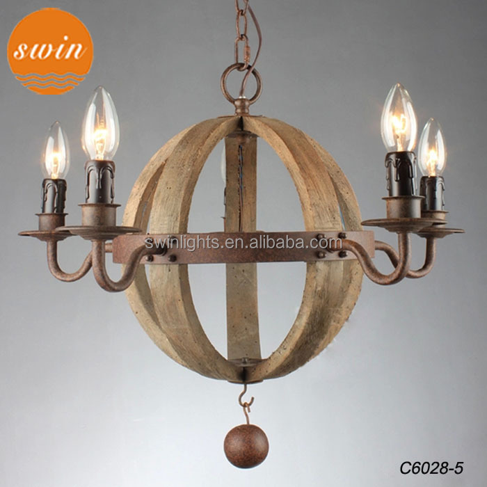 2014 American vintage wine barrel planet 5-light chandelier in china,retro wood round pendant lamp rustic iron lighting