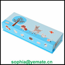 Woodland Animals design cardboard pencil case with its magnetic lid