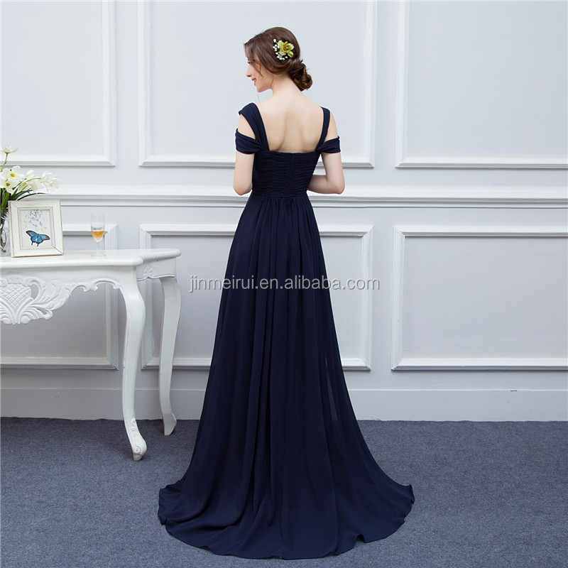 Bariano Ocean Navy Blue Color Chiffon Long Events Prom Dresses V neck Sexy Side Slit Cap Sleeve Prom Dresses Evening Dress
