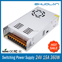 360w 24v 15amp shenzhen led ac to dc switching mode power supply for security cameras