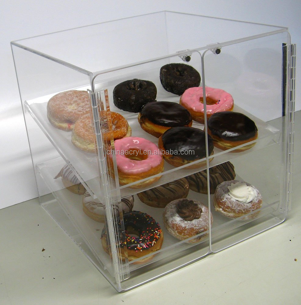 acrylic food display cases 2 Trays for Deli Bakery Convenience Stores Display Bagel cakes and Keeps Fresh