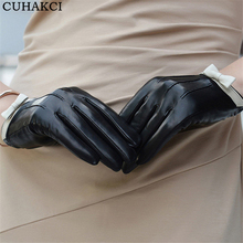 Winter Ladies Wool Hand Warm Wrist Full Fingers Mittens Women Bowknot Touchscreen PU Leather Gloves