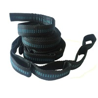 Hammock Tree Hanging Straps Black with Blue, 2-Pack, Heavy Duty Adjustable