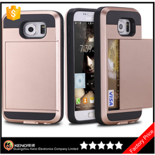 Guangzhou keno manufacture professional Card holder back cover tpu pc mobile phone case for samsung galaxy s6