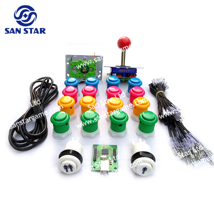 DIY Arcade Parts Bundles Kit With Joystick,Pushbutton,Microswitch,2 Player USB To Jamma Board